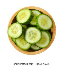 bowl of sliced cucumber on white background