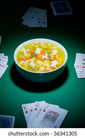 Bowl of soup is been laid down on casino table