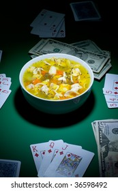 Bowl of soup is been layed down on casino table
