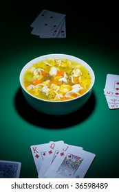 Bowl of soup on casino table is been played