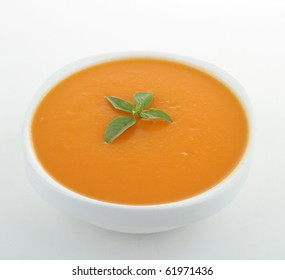 bowl of soup on white