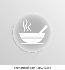 bowl of soup on a white button with shadow