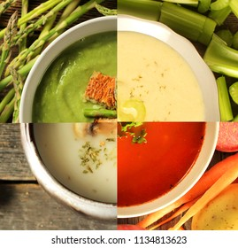 A bowl of soup separately in four different kind of soup.  Asparagus, celery, vegetables and mushroom.