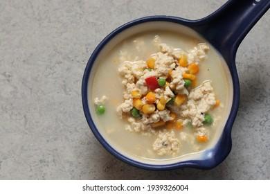 Bowl of soup, top view. selective focus