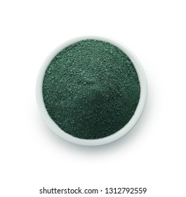 Bowl with spirulina algae powder on white background, top view
