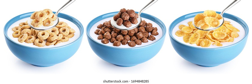 Bowl and spoon with corn rings, balls, cornflakes and yogurt isolated on white background. Cereals breakfast collection with clipping path.