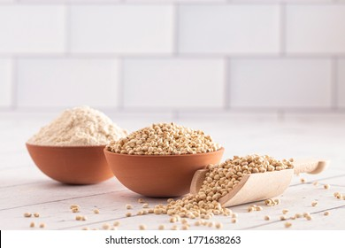 A Bowl of Sprouted Sorghum and Sorghum Flour on a Bright White Table
