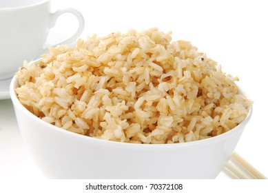A bowl of steamed brown rice