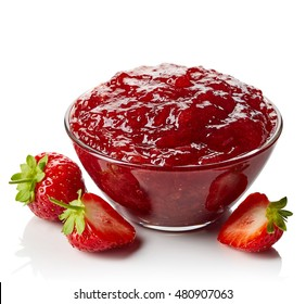 Bowl of strawberry jam isolated on white background