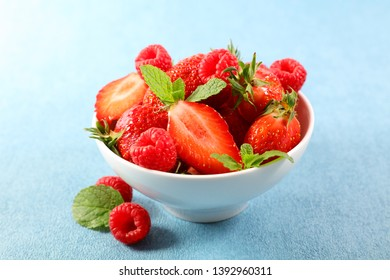 bowl with strawberry and raspberry, berry fruit