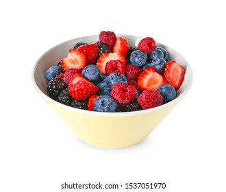 Bowl with tasty berry salad on white background