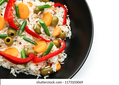 Bowl with tasty boiled rice and vegetables on white background, closeup