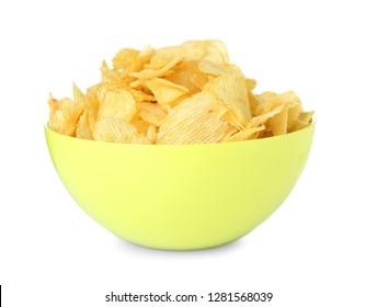 Bowl with tasty crispy potato chips on white background