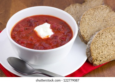 a bowl of traditional red beet soup