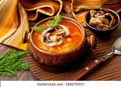 Bowl  with traditional Russian cabbage soup with mushrooms and dill, selective focus shallow depth of field