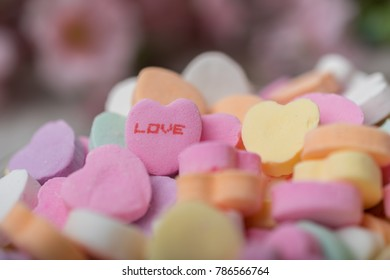 Bowl Valentines Heart Candy Messages Focus Stock Photo Edit Now