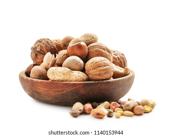 Bowl with various tasty nuts in white background