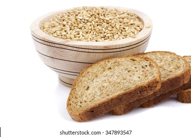 bowl with wheat and bread isolated on white