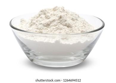 bowl of wheat flour isolated on white
