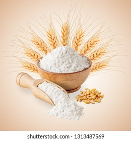 Bowl of white wheat flour and ears isolated