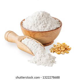Bowl of white wheat flour and seeds isolated