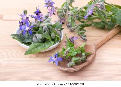 Bowl and wooden spoon with Borage on a wooden background