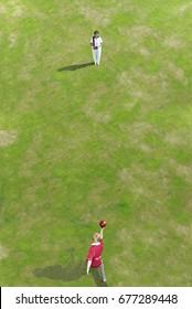 bowler bowling at person