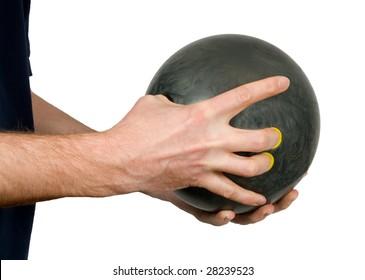 Bowler holding bowling ball