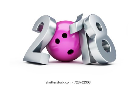 Bowling 2018 new year on a white background 3D illustration, 3D rendering