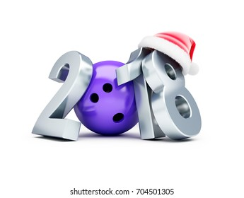 Bowling 2018 new year santa hat on a white background 3D illustration, 3D rendering