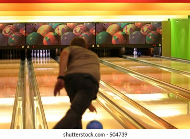Bowling #5 - focus is set on background, person is blured