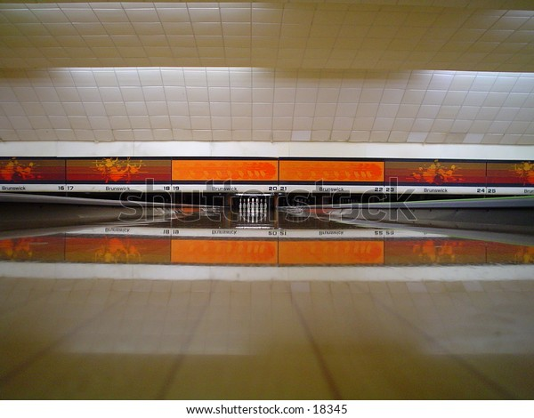 Bowling alley interior.