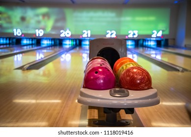 The bowling alley was laid in a wooden lane in the bowling hall.