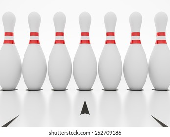 Bowling alley on white background.
