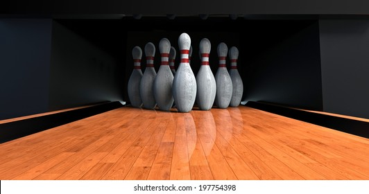 Bowling alley with the pins