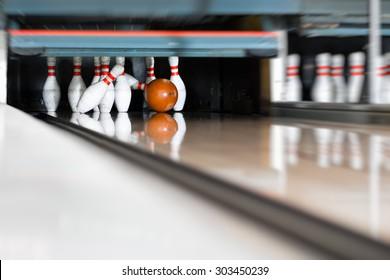 Bowling ball encounters the pin