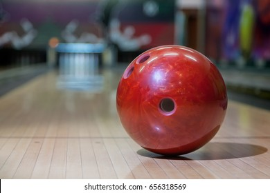 the bowling ball on the playing field closeup