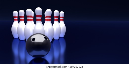 Bowling ball and pin template. Tv size banner. 3D rendering