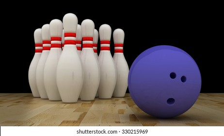Bowling ball with pins on wooden floor