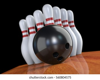 bowling ball targeted to the center of pin skittles. Moment before the strike. 3D render, on black background.