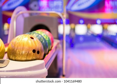 Bowling balls at bowling alley,relaxing and sport concept.