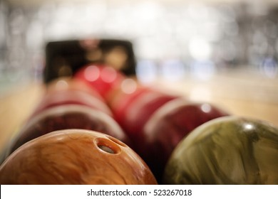 bowling balls detail, taken indoor