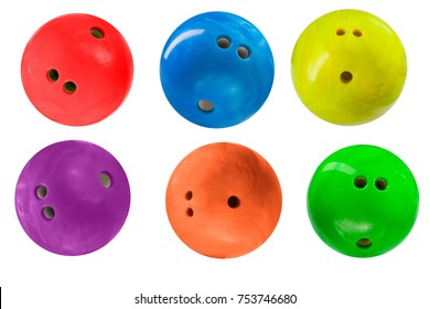 bowling balls isolated on white background, set of six balls