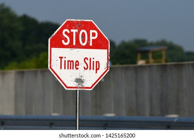 BOWLING GREEN, KY - JUNE 16, 2018: A Time Slip sign is displayed at the National Corvette Museum Motorsports Park in Bowling Green, Kentucky.