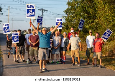 BOWLING GREEN, KY/USA SEPTEMBER 16TH 2019 GM Workers go on Strike. Workers hold Picket signs outside of the Corvette Assembly Plant in Bowling Green, KY.