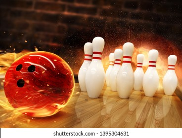 Bowling hit with fire ball rolling on the floor. Concept of success and win.