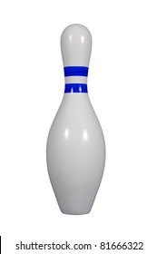 Bowling pin with a colored stripe isolated on a white background