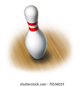 Bowling pin on wood floor single isolated