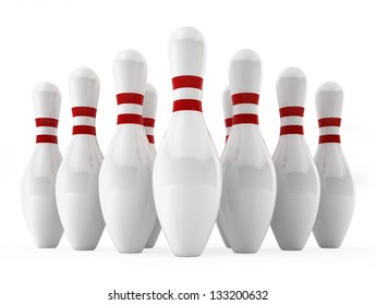 Bowling pins. 3d illustration on white background
