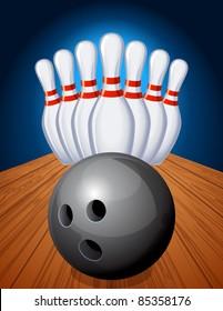 bowling pins and ball - raster version